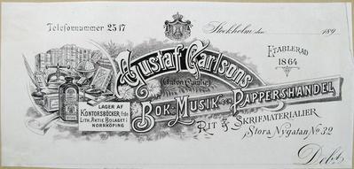 Gustaf Carlssons Bok- Musik och Pappershandel
