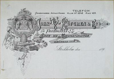 John Löfgren & Co Siden- och manufakturaffär, Stockholm