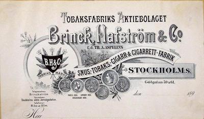 Brinck Hafström & Co snus-, tobaks-, cigarr & cigarett-fabrik