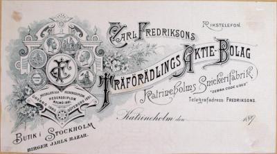 Carl Fredriksons Träförädlings Aktie-Bolag Katrineholms Snickerifaabrik