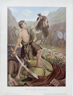 David och Goliath. I Samuels bok 17, 49-51.