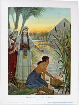 Faraos dotter finner Moses. 2 Mos. 2, 5-10.