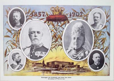 1857 - 1907 Konungen och drottningen med deras fyrasöner. Med anledning af guldbröllopet den 6 juni