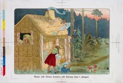 Hans och Greta komma till häxans hus i skogen