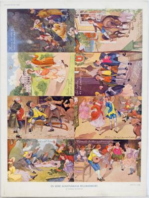 En serie konstnärliga Bellmanskort af Gunnar Widholm
