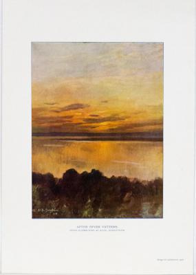 Afton över Vättern. Efter oljemålning af Alfr. Bergström