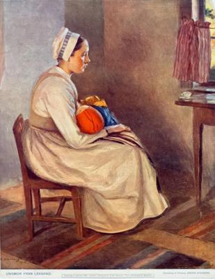 Ungmor från Leksand. Oljemålning av Professor Emerik Stenberg