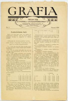 Grafia. Organ för svenska litografförbundet, omfattande yrkesutövare av litografi, kemigrafi, djup-, ljus- och tapettryck.