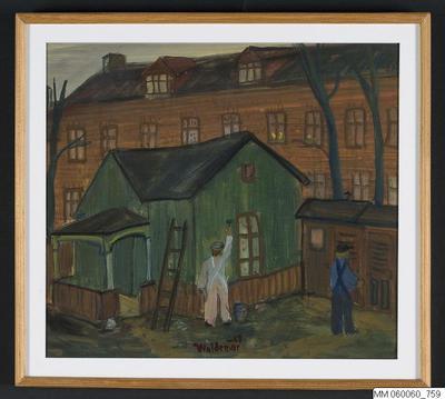 målning, gouache, Trädgårdshuset. Södra Långgatan 24