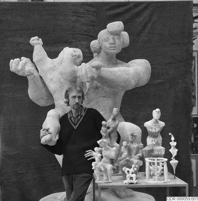 skulptur, museum, bråhammar, män, man, intendent, skulpturer, konst