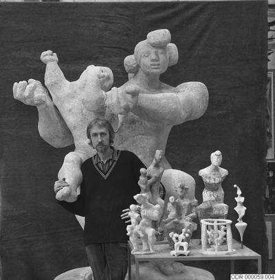 museum, konst, män, skulpturer, bråhammar, skulptur, intendent, man
