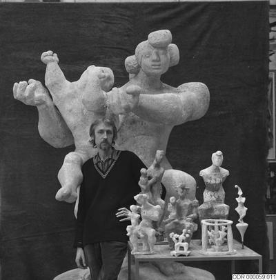 bråhammar, intendent, museum, konst, män, skulpturer, man, skulptur