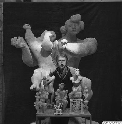 skulptur, museum, skulpturer, bråhammar, konst, man, män, intendent