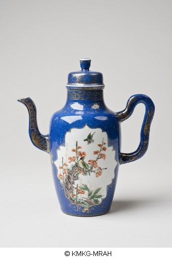 Ewer in powderblue with reserved pannels decorated with flower- and bird designs in famille verte