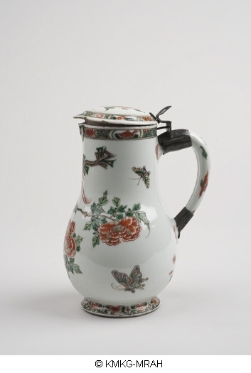 Covered beer jug after a European model, in famille verte, with a European, silver mount