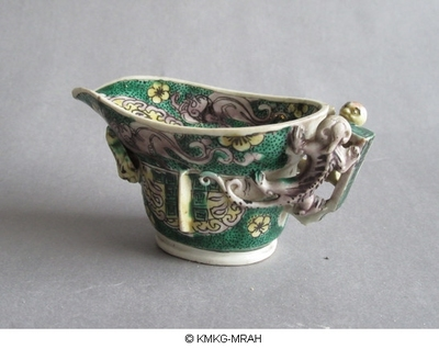 Libation cup decorated with crawling dragons in high relief, susancai colours