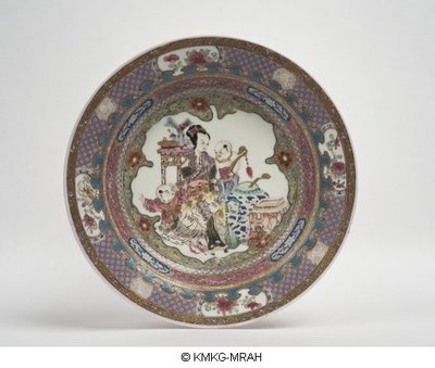 Ruby back 'seven border' soup plate: lady and children in a furnished interior
