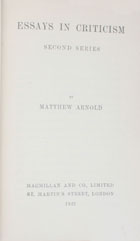 Essays in criticism : second series