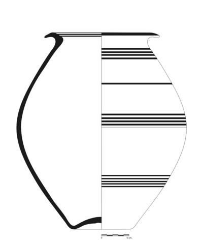 Imagen en blanco y negro de BA57_1. Recipiente cerámico procedente de la necrópolis ibérica del Cerro del Santuario (Baza, Granada)