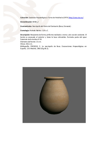 3D PDF de BA69_2. Recipiente cerámico procedente de la necrópolis ibérica del Cerro del Santuario (Baza, Granada)