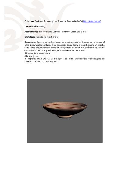 3D PDF de BA93_1. Recipiente cerámico procedente de la necrópolis ibérica del Cerro del Santuario (Baza, Granada)