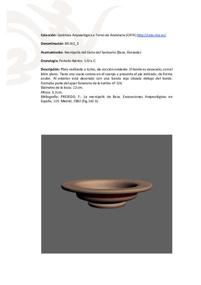 3D PDF de BA142_3. Recipiente cerámico procedente de la necrópolis ibérica del Cerro del Santuario (Baza, Granada)