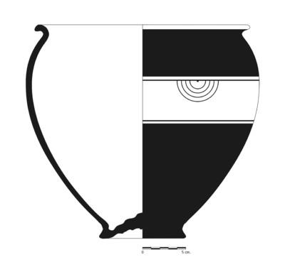 Imagen en blanco y negro, BA183_1. Recipiente cerámico procedente de la necrópolis ibérica del Cerro del Santuario (Baza, Granada)