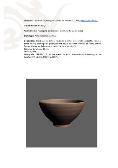 3D PDF de BA206_7. Recipiente cerámico procedente de la necrópolis ibérica del Cerro del Santuario (Baza, Granada)