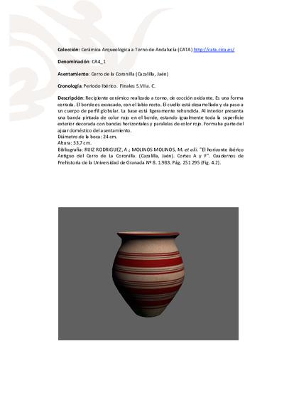 3D PDF de CA4_1. Recipiente cerámico procedente del asentamiento fortificado ibérico del Cerro de la Coronilla (Cazalilla, Jaén)