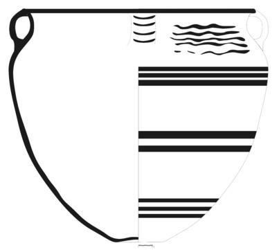 Imagen en blano y negro, CA7_2. Recipiente cerámico procedente del asentamiento fortificado ibérico del Cerro de la Coronilla (Cazalilla, Jaén)
