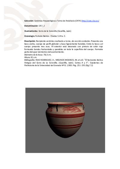 3D PDF de CA7_2. Recipiente cerámico procedente del asentamiento fortificado ibérico del Cerro de la Coronilla (Cazalilla, Jaén)