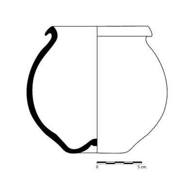 Imagen en blanco y negro, CC03_2.  Recipiente cerámico procedente de la necrópolis ibérica de Castellones de Ceal (Hinojares, Jaén)