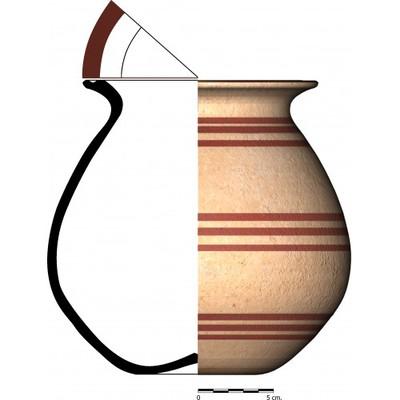 Imagen en color, CC015_1. Recipiente cerámico procedente de la necrópolis ibérica de Castellones de Ceal (Hinojares, Jaén)