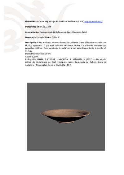 3D PDF de CCNE_7_04. Recipiente cerámico procedente de la necrópolis ibérica de Castellones de Ceal (Hinojares, Jaén)