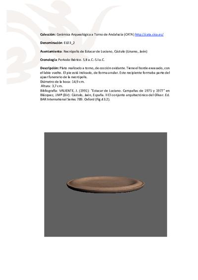 3D PDF de EL03_2. Recipiente cerámico procedente de la necrópolis ibero-romana de Estacar de Luciano, Cástulo (Linares, Jaén)