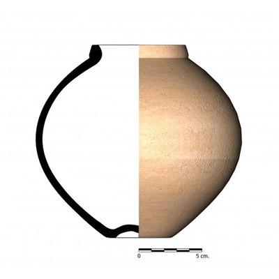 Imagen en color, EL04_1. Recipiente cerámico procedente de la necrópolis ibero-romana de Estacar de Luciano, Cástulo (Linares, Jaén)