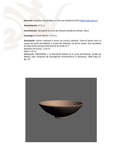 3D PDF de LP12_4. Recipiente cerámico procedente de la necrópolis ibérica de Loma de Peinado (Casillas de Martos, Jaén)
