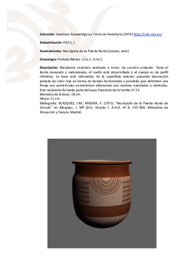3D PDF de PN23_1. Recipiente cerámico procedente de la necrópolis ibérica de la Puerta Norte, Cástulo (Linares, Jaén)