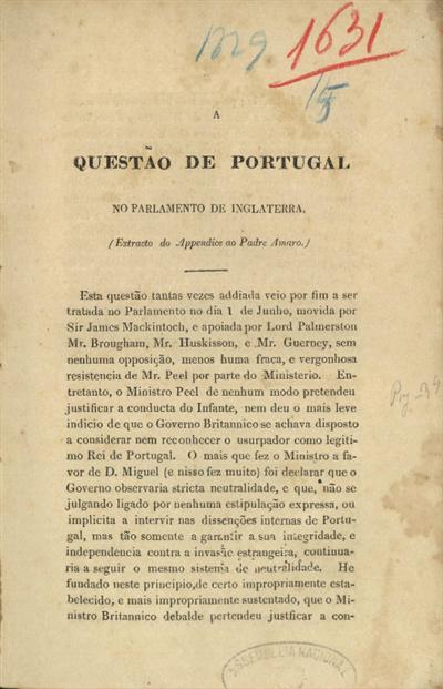 A questão de Portugal no Parlamento de Inglaterra