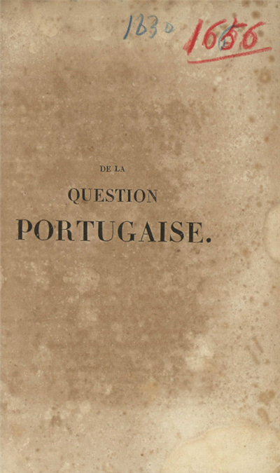 De la question portugaise
