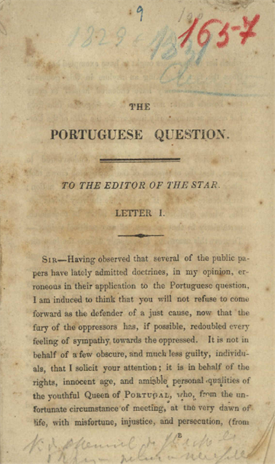The	 portuguese question: to the editor of the Star