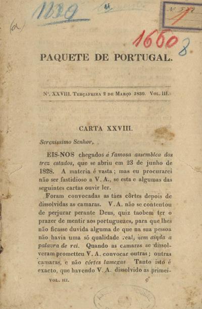 Carta XXVII: Serenissimo Senhor, eis-nos chegados á famosa assemblea dos trez estados, que se abriu em 23 de junho de 1828...