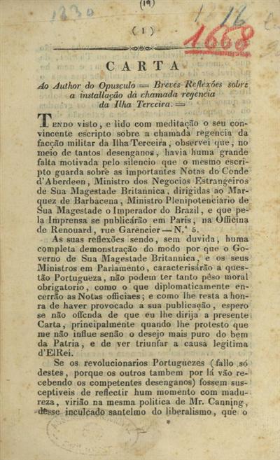 Carta ao author do opusculo breves reflexões sobre a installação da chamada regencia da ilha Terceira