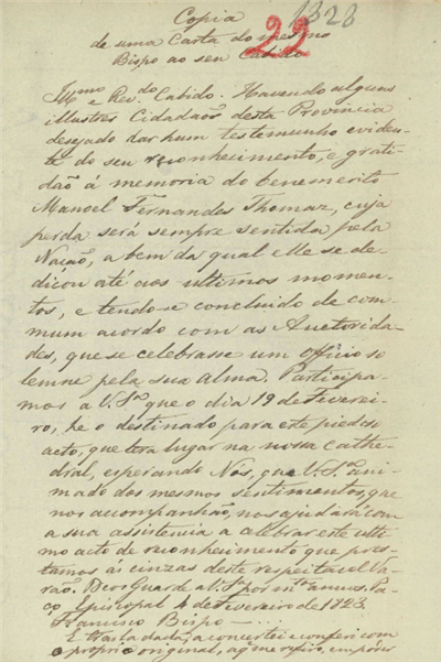 Cópia de uma Carta do meretmo Bispo ao seu Cabido