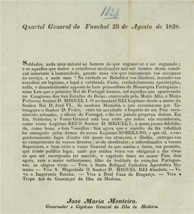 Quartel General do Funchal, 29 de Agosto de 1828: Soldados, nada mais natural...