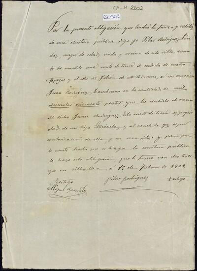 Obligación con y validez de una escritura pública de venta de una suerte de tierra de Pilar Rodríguez Sánchez, en favor de Juan Rodríguez Zambrano : [ [manuscrito]