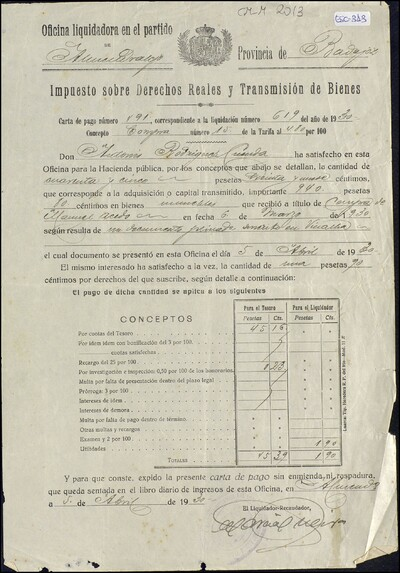 Impuesto sobre Derechos Reales y Transmisión de Bienes, en contra de Antonio Rodríguez Cuenda : [ [manuscrito]