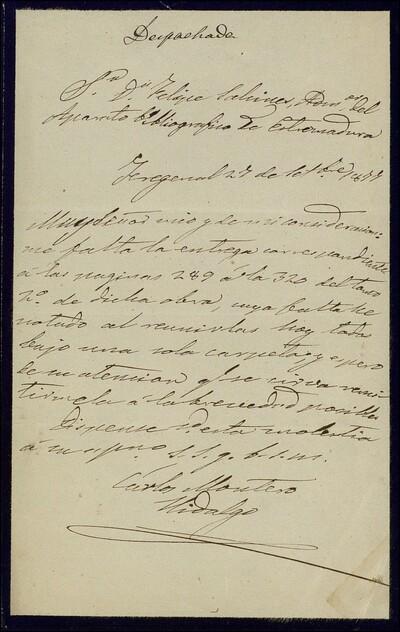 [Carta de Carlos Montero Hidalgo al Administrador del Aparato Bibliográfico de Extremadura] [ [Manuscrito]