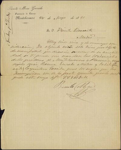 Carta de Benito Mesa Garrido a Vicente Barrantes [ [Manuscrito]