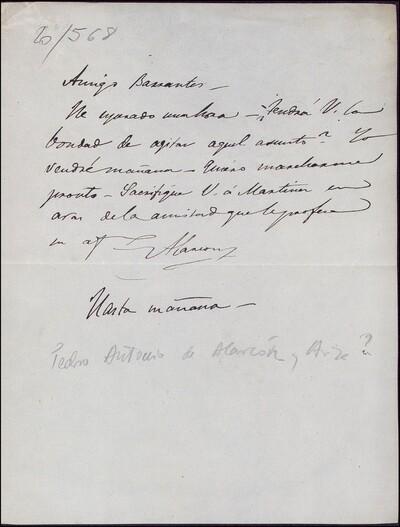 Carta de Pedro Antonio de Alarcón dirigida a Vicente Barrantes : [ [manuscrito]